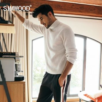 SIMWOOD Winter Sweater Men Cotton Turtleneck Wool Sweaters Brand Clothes Long Sleeve Fashion Pullover High Quality 180593