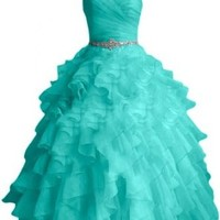 Sunvary Graceful Ball Gown Sweetheart Formal Evening Dresses Long Organza Quinceanera Dresses