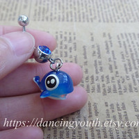 Cute Blue Fish Charm Belly Button Ring, Crystal Belly Ring,