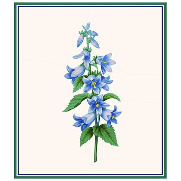 Blue Bell Flowers Inspired by Pierre-Joseph Redoute Counted Cross Stitch Pattern