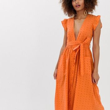 Neon Rose plunge front midaxi dress with tie waist in broderie | ASOS