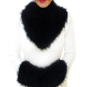 Soft Mohair Black Crochet Scarf Clutches Hand Muff Set, Free Shipping // Autumn Fall Infinity Cowl, Soft Wool Scarf Muff