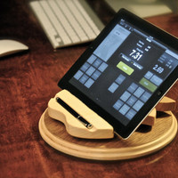 "The rotating ""Apple Register 360"" hand-made custom wooden swivel iPad docking stand for iPad 1, 2, 3, 4 and iPad mini with stylus holder"