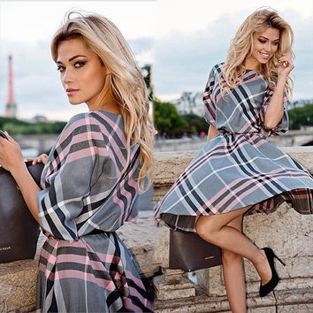 Summer Plaid One Piece Dress [4919471748]