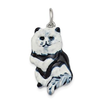 925 Sterling Silver Enameled Black and White Cat Charm and Pendant
