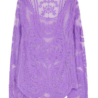 Purple Long Sleeve Crocheted Lace Blouse