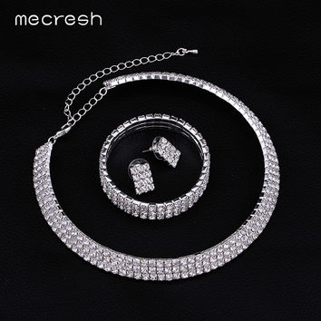 Minlover Silver Color Crystal Three Rows Bridal Necklace + Earrings + Bracelet for Women Wedding Accessories Jewelry Sets 3TL001