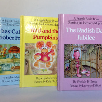 1983 FRAGGLE ROCK 1st issue Books: They Call Me Boober Fraggle, Red and the Pumpkins, The Radish Day Jubilee
