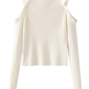White Cold Shoulder Long Sleeve Knit Jumper