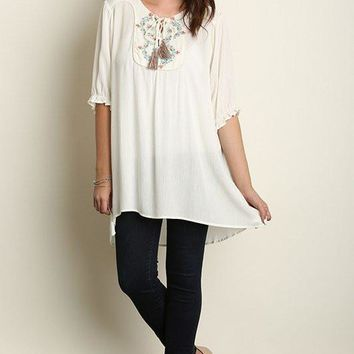 Plus Size 3/4 Sleeve Embroidered Tunic - White