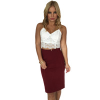 Close To You Pencil Skirt In Burgundy