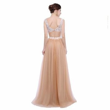 Half sleeve Formal Long Evening Gowns Dress Backless