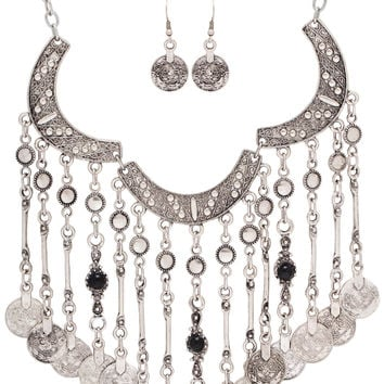 Adiva Necklace Set - Silver