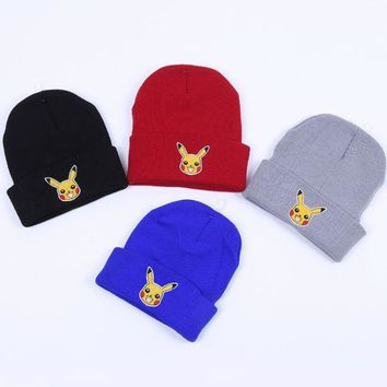 PEAPDQ7 Winter Cute Pikachu Embroidery Knit Beanies Hat