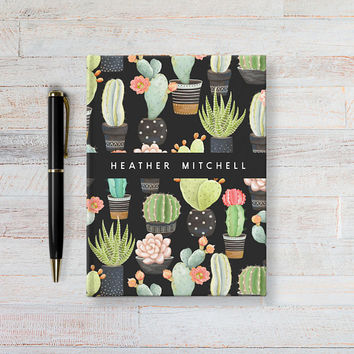 Personalized Journal, Custom Notebook, Writing Journal, Personalized Cactus Name Book, Black Floral Sketchbook, Blank or Lined pages