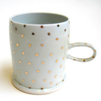 MADE TO ORDER Gold Polka Dot Porcelain Mug White