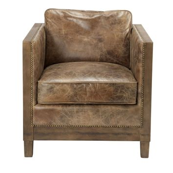 Darlington Club Chair Distressed Light Brown Top Grain Leather