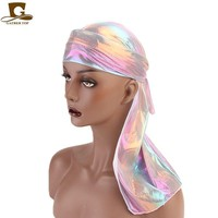 Unisex Colorful Laser Silky Durag   hip hop doo rag headwrap Bandanas DU-RAG Long Tail Hair Accessories for Party Outdoor