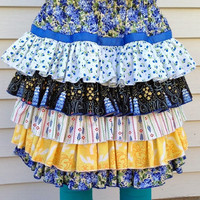 Ruffle Skirt in Country Blues, for Little Girls and Toddlers sizes 2T to 14