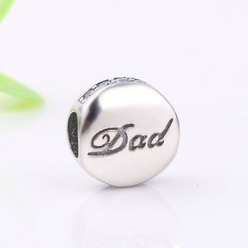 Ranqin New Fashion 925 Sterling Silver Dad Charm Beads Fit Original Pandora Bracelet Pendant Authentic DIY Jewelry Father