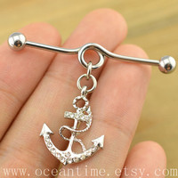 anchor industrial barbell piercing,anchor industrial barbell earring jewelry, bling anchor ear jewelry,oceantime
