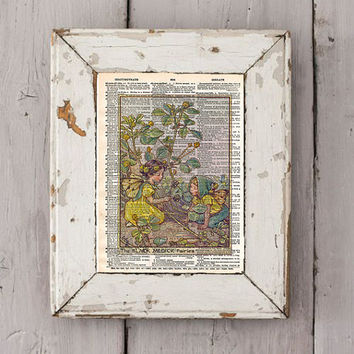 Vintage Flower Fairy art - Black medick Fairy - Fairy art print,  Dictionary print art