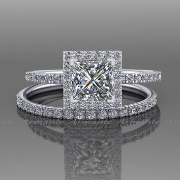 Princess Cut Moissanite And Natural Diamond Bridal Set