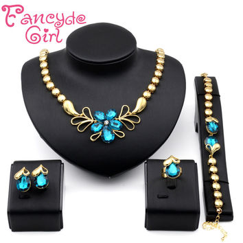 Fancyde Girl Beautiful Flower Shape Crystal Necklace Bracelet Ring Earring Jewelry Sets For Women Wedding Jewelry festival gifts