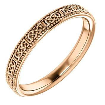 14K Gold 3 mm Celtic-Inspired Milgrain Eternity Band