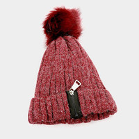 Women's Burgundy Soft Knit Fluffy Fur Pom Pom Zipper Detail Beanie Cap Hat