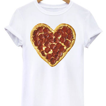 I Heart Pizza I Love Pepperoni Pizza Unisex Womens Mens Tee Shirt TShirt