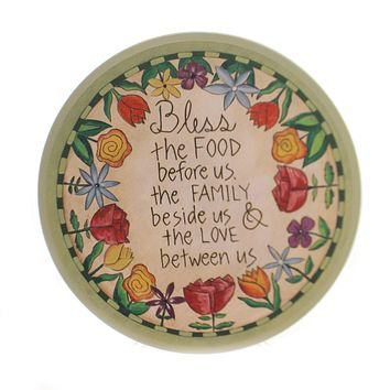 Tabletop TABLE PRAYER LAZY SUSAN Wood Bless This Food Family 1004040012