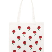 Rose Print Tote Bag