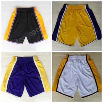 Los Angeles 24 Kobe Bryant Basketball Shorts Men Breathable 32 Magic Johnson Pant Sportswear All Stitched Team Black Purple White Purple