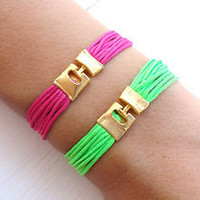 Neon friendship string bracelets for woman