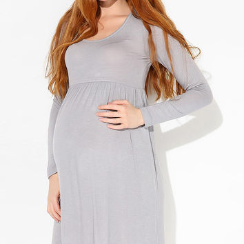 37.5 Beloved Gray Maternity Empire-Waist Dress - Women | zulily