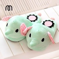 Millffy 3D animals Elephant circus mint green plush floor home home warm slippers cart