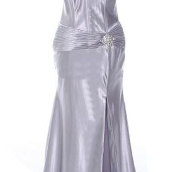 Silver Collar Halter Dress Satin Formal Open Slit Sexy Full Length Gown