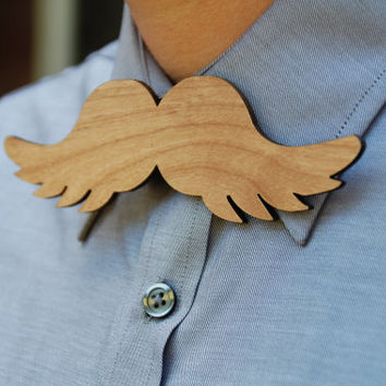 Mustache Wooden Laser Cut Bow Tie Handsome by AFlutteredCollection