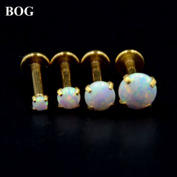 Lot 4 Pcs Gold Labret Monroe Lip Stud Ear Cartiliage Tragus Helix Piercing stud Ring With White Opal Stone 16g Body Jewelry