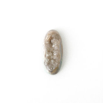 Long Oval Geode Druzy Gemstone, Color Combination Stone, Undrilled 18x41mm, Crystal Stone Supply