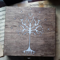 White tree wood burned box gondor lord of the rings inspired walnut stained rustic decorative art
