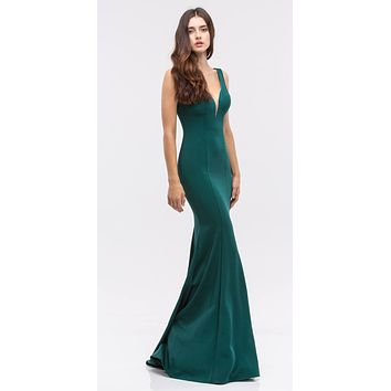 Plunging V-Neck Floor Length Mermaid Prom Dress Hunter Green