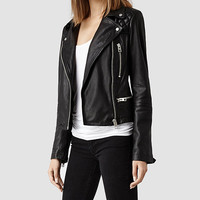Womens Bleeker Leather Biker Jacket (Black) | ALLSAINTS.com