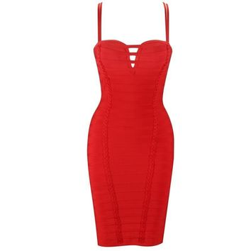 Persis- Red Bodycon Bandage Mini Dress