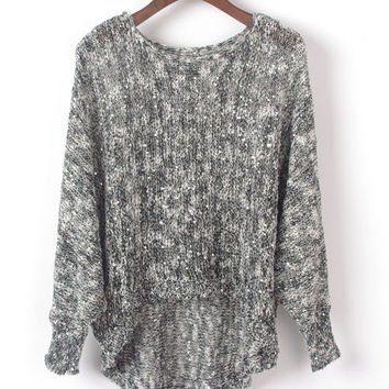Sequin Embellished Long Sleeve Sweater with High Low Hemline