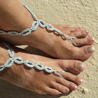 Silver Barefoot Sandals Chain Link , Crochet Sandals,Sexy Foot Jewelry, Anklet, Toe Ring, Yoga, Foot Thongs, Nude Shoes, Lace Sandles