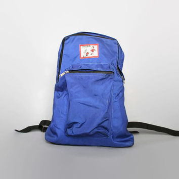 Vintage 70s TRUCKIN' Blue Nylon RUCKSACK / Rare BACKPACK - Great Logo #mens