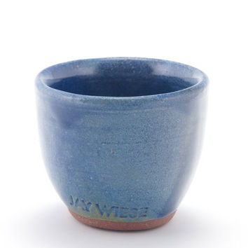 Sake cup, shot glass (blue), rustic modern stoneware pottery