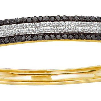 14kt Yellow Gold Womens Round Black Colored Diamond Bangle Bracelet 1-3/8 Cttw